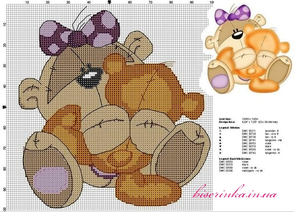 Схема вышивки «Медвежонок с