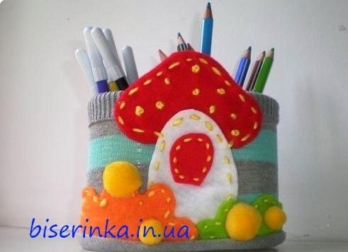 Подставка детская для карандашей своими руками
