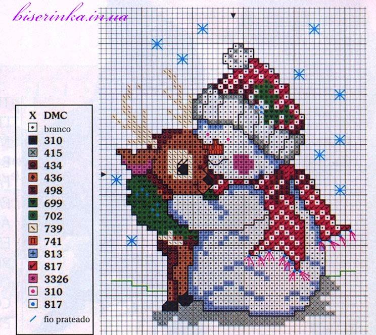 Схема вышивки «Снеговик с