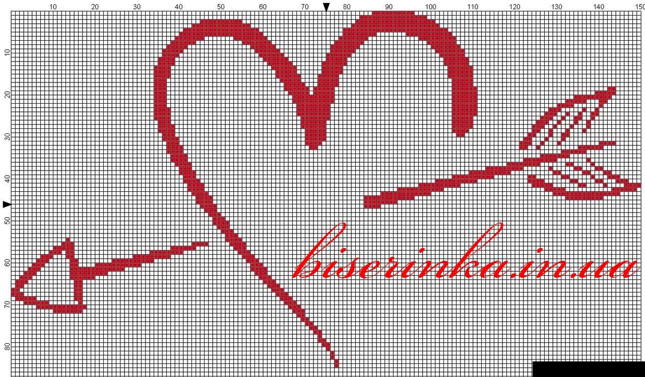 Вышивка из бисера сердечки
