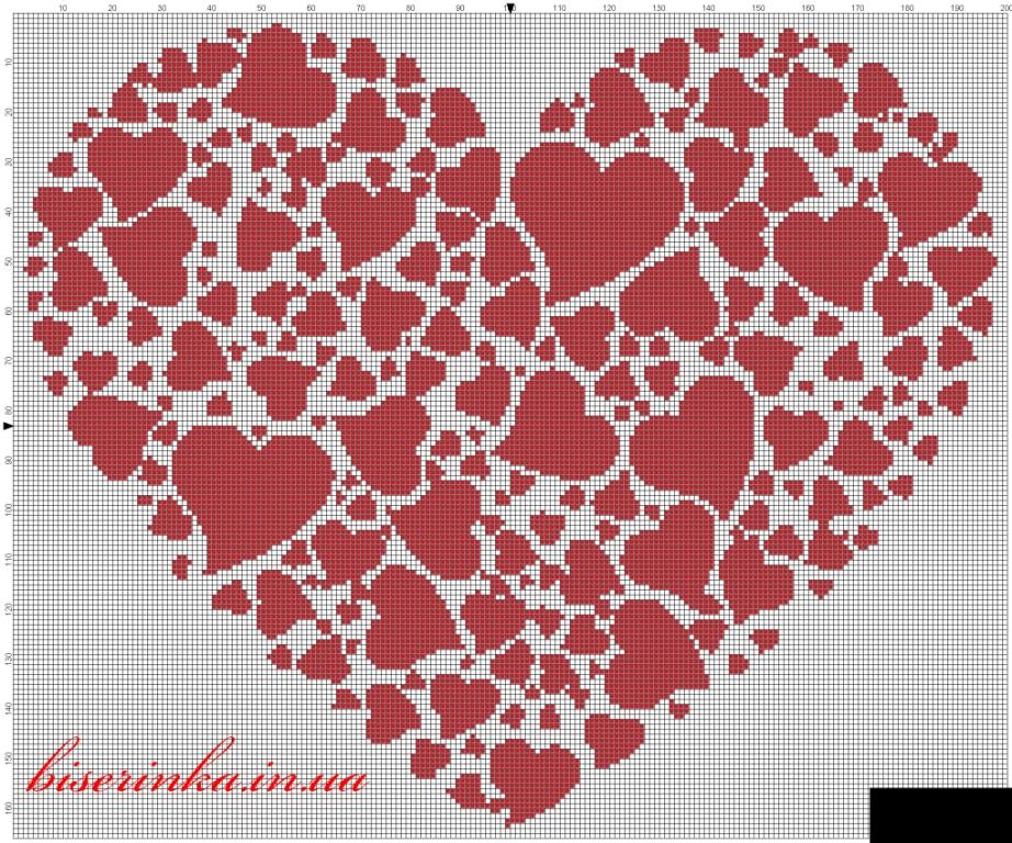 Схема вышивки большого сердца