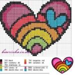 Схема вышивки «Радужное сердце»