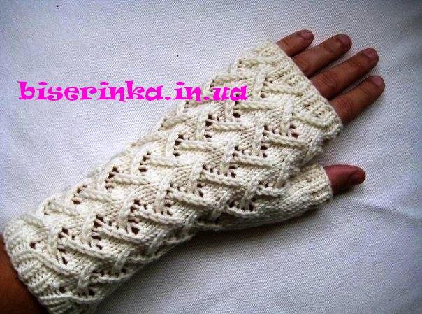 Вязание спицами митенки