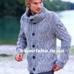 Мужской пуловер с пуговицами вязанный спицами