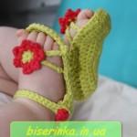 Пинетки-сандали вязанные крючком