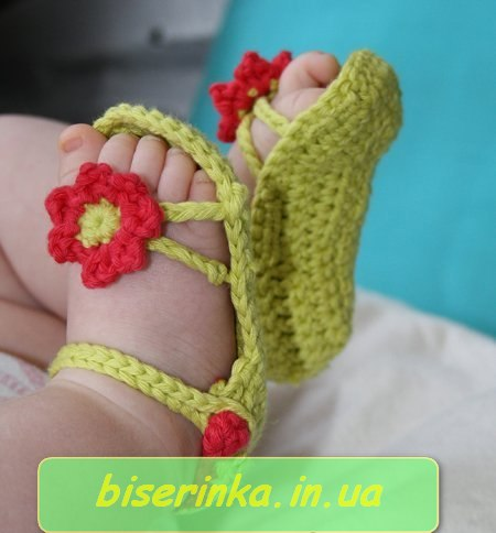 Пинетки-сандали вязанные