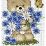 Схема вышивки «Медвежонок и цветочки»