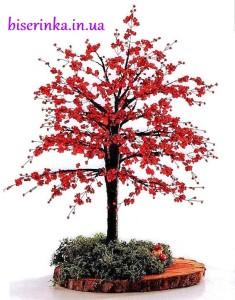 Дерево с красной листвой из бисера