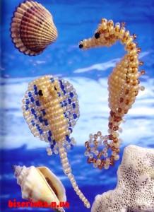 Морской конёк и скат из бисера