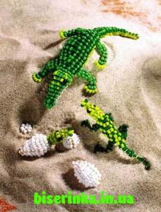 большой и маленький крокодилы из бисера