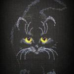 Схема вышивки «Кошка» на чёрной канве