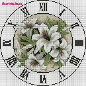 часы с лилиями крестиком