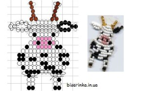 Плоская фигурка коровы из бисера