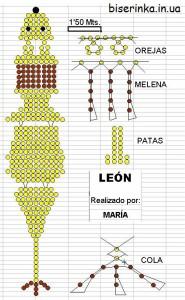 Схема плетения льва из бисера