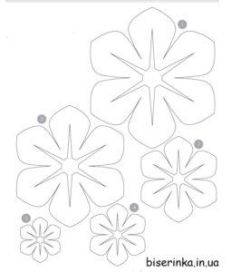 Выкройка цветов из фетра