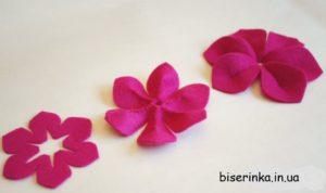 Вырезаем цветок из фетра