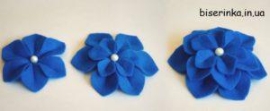 Многослойные цветы из фетра